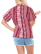 Load image into Gallery viewer, la-leela-womens-beach-casual-hawaiian-blouse-short-sleeve-button-down-shirt-red