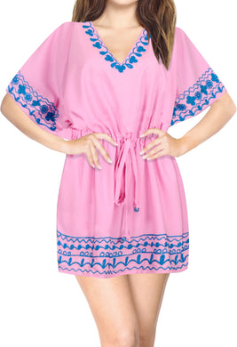 la-leela-bikini-swim-beach-wear-swimsuit-cover-ups-women-caftan-dress-solid-OSFM 16-28W [XL- 4X]-Pink_B60