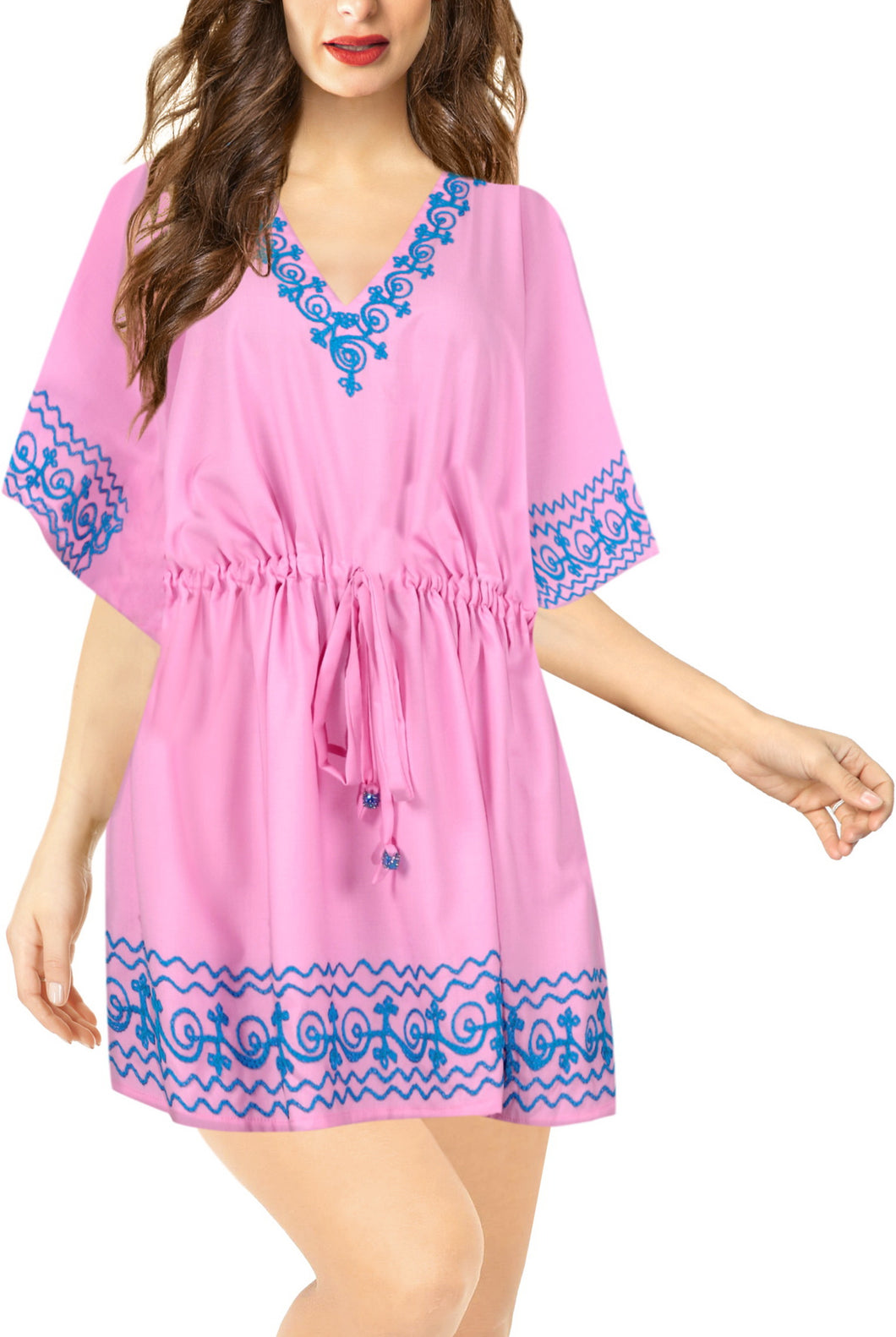 la-leela-bikini-swim-beach-wear-swimsuit-cover-ups-women-caftan-dress-solid-OSFM 16-28W [XL- 4X]-Pink_B59