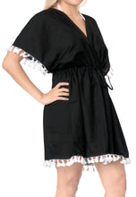 Load image into Gallery viewer, LA LEELA Rayon Solid Beachwear Loose Cover Up OSFM 16-28W [XL- 4X] Black_2950 Black_B58