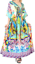 Load image into Gallery viewer, LA LEELA Likre Digital Long Caftan Women's Multicolor_770 OSFM 14-22W [L-3X] Multicolor_A968