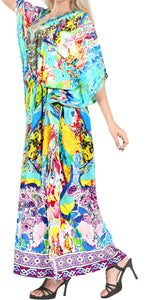 LA LEELA Likre Digital Long Caftan Women's Multicolor_770 OSFM 14-22W [L-3X] Multicolor_A968