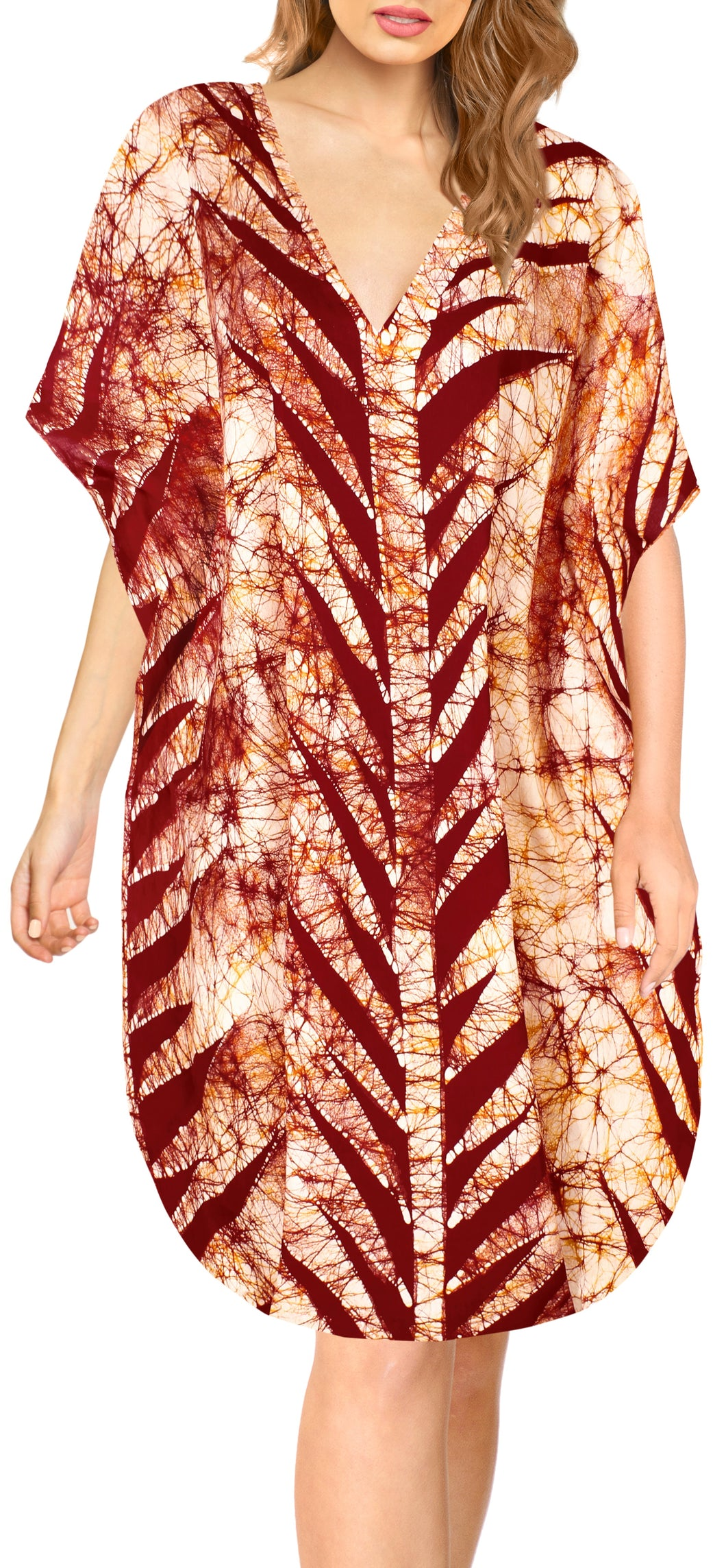 la-leela-cotton-batik-short-caftan-vacation-top-OSFM 14-18W [L- 2X]-Pumpkin Orange_A835