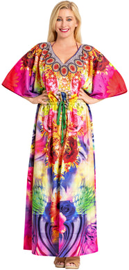 LA LEELA Likre Digital Long Caftan Women's Multicolor_696 OSFM 14-22W [L-3X] Multicolor_A827