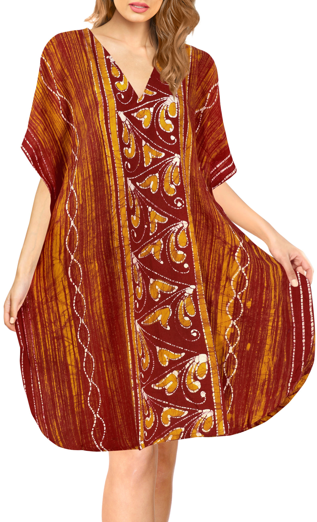 la-leela-cotton-batik-short-caftan-vacation-top-OSFM 14-18W [L- 2X]-Pumpkin Orange_A641