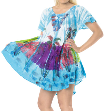 LA LEELA Casual DRESS Beach Cover up Rayon Tie Dye Floral Cover Up Womens Blue_509 Plus Size