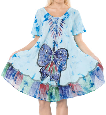LA LEELA Rayon Tie Dye SunCasual DRESS Beach Cover upes Luau Coverup Womens Blue_511 Plus Size