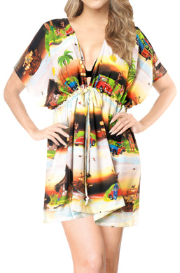 la-leela-bikni-swimwear-chiffon-digital-hd-print-tunic-vintage-cover-up-Halloween Black_A339