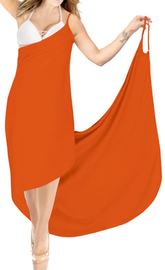 la-leela-rayon-bathing-towel-Women's-Sarong-Swimsuit-Cover-Up-Summer-Beach-Wrap-Skirt-Full-Long-Pumpkin Orange_A305