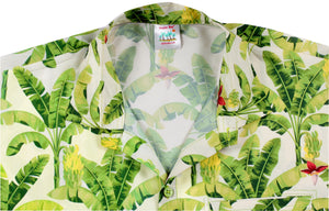 LA LEELA Shirt Casual Button Down Short Sleeve Beach Shirt Men Aloha Pocket shirt Cream_AA14