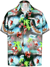 Load image into Gallery viewer, la-leela-mens-casual-beach-hawaiian-shirt-aloha-christmas-santa-front-pocket-short-sleeve-black_aa16