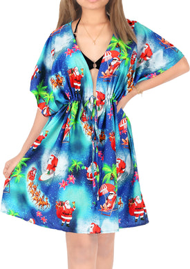LA LEELA HD santa Swim Christmas Cover up Women Blue_X513 OSFM 14-24W[L- 3X]