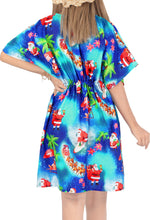 Load image into Gallery viewer, la-leela-hd-santa-swim-christmas-cover-up-women-blue_x513-osfm-14-24wl-3x