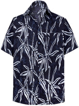Load image into Gallery viewer, la-leela-men-casual-wear-holiday-cotton-hand-palm-tree-printed-batik-black-aloha-shirt