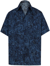 Load image into Gallery viewer, la-leela-men-casual-wear-cotton-hand-printed-navy-blue-hawaiian-aloha-shirt-size-s-xxl