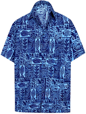 la-leela-men-casual-wear-cotton-hand-print-batik-blue