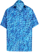 Load image into Gallery viewer, la-leela-men-casual-wear-cotton-hand-batik-printed-blue-hawaiian-aloha-shirt-size-s-xxl