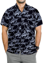 Load image into Gallery viewer, la-leela-men-casual-wear-cotton-hand-print-batik-black-grey-size-s-xxl
