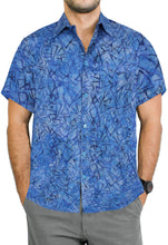 Load image into Gallery viewer, la-leela-men-casual-men-wear-summer-100-cotton-hand-printed-blue-aloha-size-s-xxl
