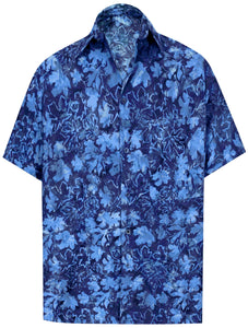 LA LEELA Men's Wear Summer Everyday Essentials Holiday Casual  Shirt 100% NATURAL COTTON  Leaf Printed Navy Blue Hawaiian shirt