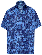Load image into Gallery viewer, la-leela-men-casual-wear-cotton-hand-batik-leaf-printed-navyl-blue-hawaiian-shirt-size-s-xxl