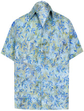 Load image into Gallery viewer, la-leela-men-casual-wear-cotton-hand-leaf-printed-blue-hawaiian-shirt-size-s-xxl