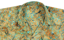 Load image into Gallery viewer, la-leela-men-casual-wear-holiday-summer-100-cotton-hand-printed-mustard-green-aloha-shirt