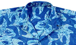 la-leela-men-casual-wear-cotton-hand-batik-fish-printed-royal-blue-hawaiian-shirt-size-s-xxl