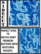 Load image into Gallery viewer, la-leela-men-casual-wear-cotton-hand-batik-fish-printed-royal-blue-hawaiian-shirt-size-s-xxl