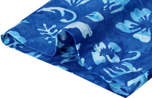 la-leela-men-casual-wear-cotton-hand-batik-floral-printed-royal-blue-hawaiian-shirt-size-s-xxl
