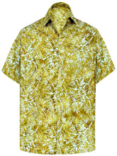 Load image into Gallery viewer, la-leela-men-casual-wear-cotton-hand-palm-tree-printed-brown-hawaiian-shirt-size-s-xxl
