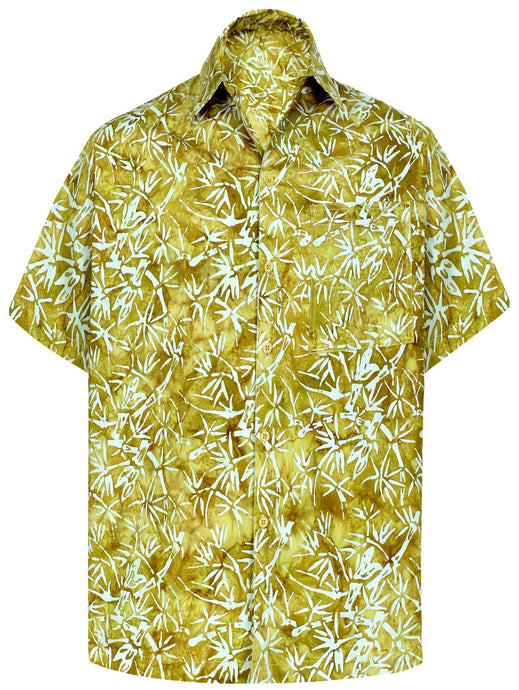 la-leela-men-casual-wear-cotton-hand-palm-tree-printed-brown-hawaiian-shirt-size-s-xxl