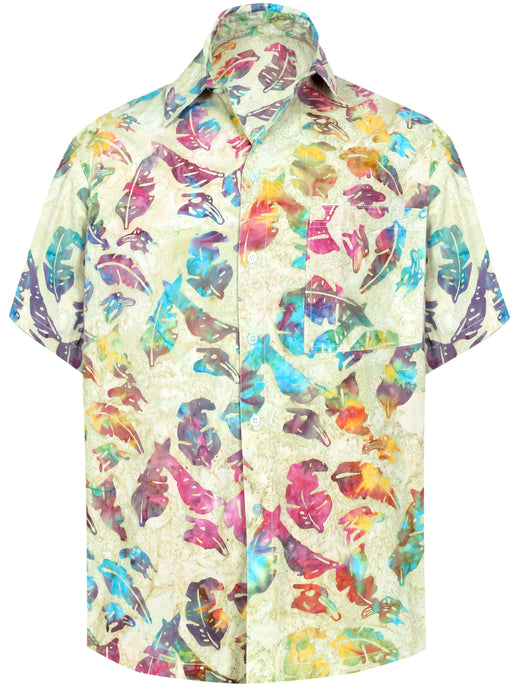 la-leela-men-casual-wear-cotton-hand-printed-off-white-multi-color-hawaiian-shirt-size-s-xxl