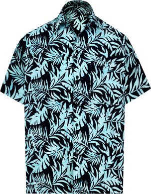 la-leela-men-casual-wear-cotton-hand-batik-printed-black-turquoise-hawaiian-shirt-size-s-xxl