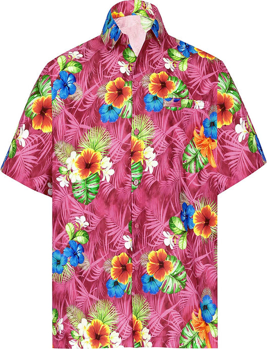 LA LEELA Shirt Casual Button Down Short Sleeve Beach Shirt Men Aloha Pocket 166