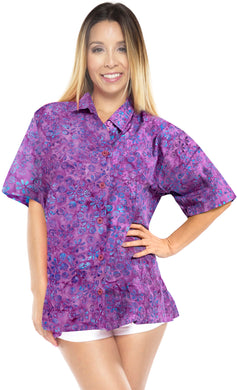 la-leela-womens-beach-wear-button-down-short-sleeve-casual-100-cotton-floral-hand-printed-blouse-purple