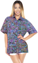 Load image into Gallery viewer, la-leela-womens-beach-wear-button-down-short-sleeve-casual-100-cotton-leaf-hand-printed-blouse-turquoise