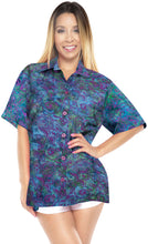 Load image into Gallery viewer, la-leela-womens-beach-wear-button-down-short-sleeve-casual-blouse-floral-hand-printed-multi-color