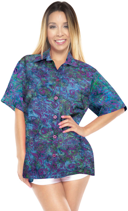 la-leela-womens-beach-wear-button-down-short-sleeve-casual-blouse-floral-hand-printed-multi-color