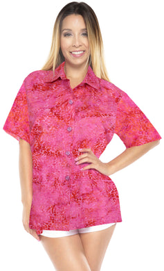 la-leela-womens-beach-wear-button-down-short-sleeve-casual-100-cotton-hand-printed-blose-pink