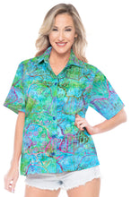 Load image into Gallery viewer, la-leela-womens-beach-wear-button-down-short-sleeve-casual-blouse-100-cotton-hand-printed-multi