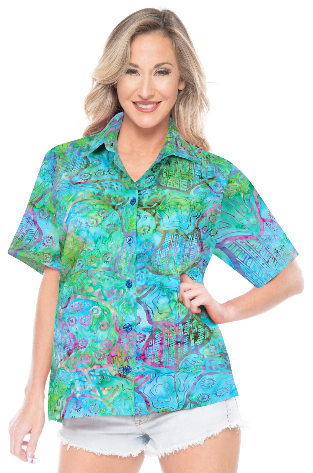 la-leela-womens-beach-wear-button-down-short-sleeve-casual-blouse-100-cotton-hand-printed-multi