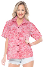 Load image into Gallery viewer, la-leela-womens-beach-wear-button-down-short-sleeve-casual-100-cotton-blouse-hand-printed-baby-pink