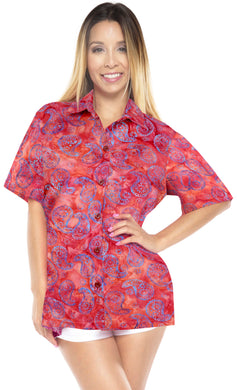 la-leela-womens-beach-wear-button-down-short-sleeve-casual-100-cotton-hand-printed-blouse-red