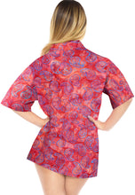 Load image into Gallery viewer, la-leela-womens-beach-wear-button-down-short-sleeve-casual-100-cotton-hand-printed-blouse-red