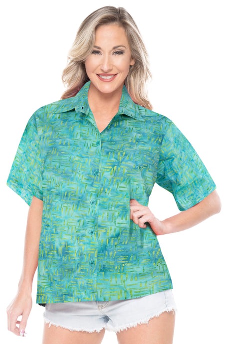 la-leela-womens-beach-wear-button-down-short-sleeve-casual-100-cotton-hand-printed-turquoise