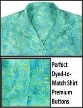 Load image into Gallery viewer, la-leela-womens-beach-wear-button-down-short-sleeve-casual-100-cotton-hand-printed-turquoise