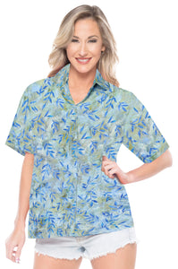 la-leela-womens-beach-wear-button-down-short-sleeve-casual-blouse-leaf-hand-printed-blue