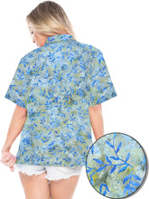 Load image into Gallery viewer, la-leela-womens-beach-wear-button-down-short-sleeve-casual-blouse-leaf-hand-printed-blue