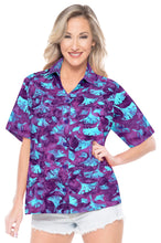 Load image into Gallery viewer, la-leela-womens-beach-wear-button-down-short-sleeve-casual-100-cotton-leaf-floral-hand-printed-blouse-purple-turquoise